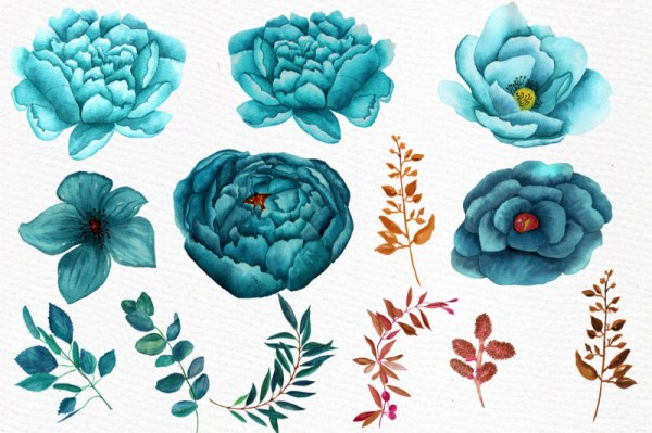 watercolor teal flowers clipart