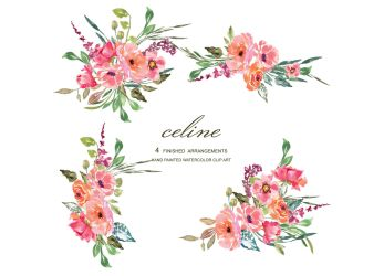Watercolor Rustic Flower Clipart Pink & Red Florals By Patishop Art TheHungryJPEG com