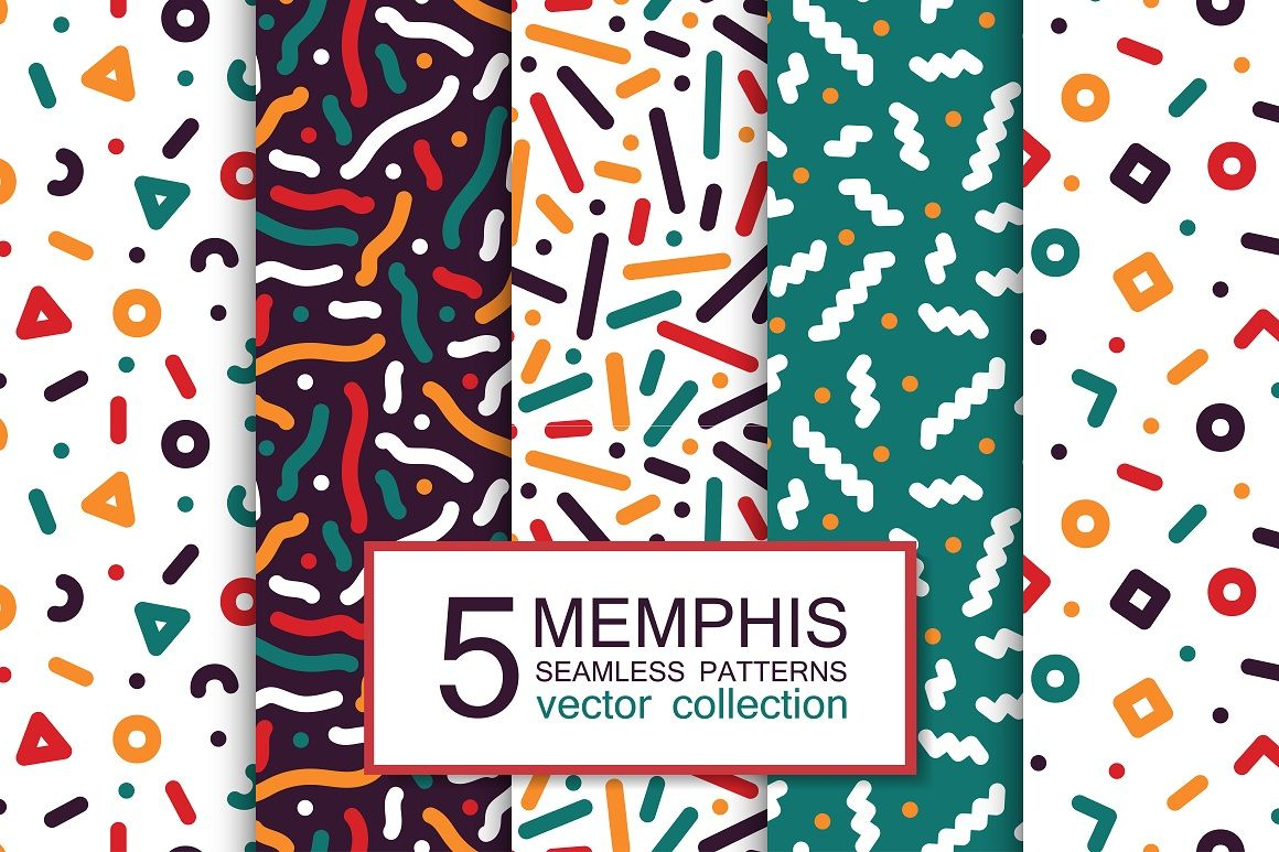 colorful seamless memphis patterns