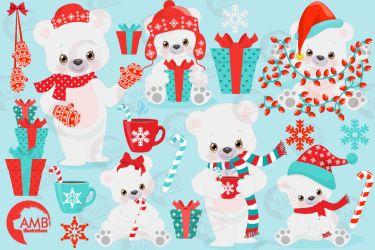 bear polar clipart illustrations christmas graphics 2274 amb winter cart thehungryjpeg ambillustrations