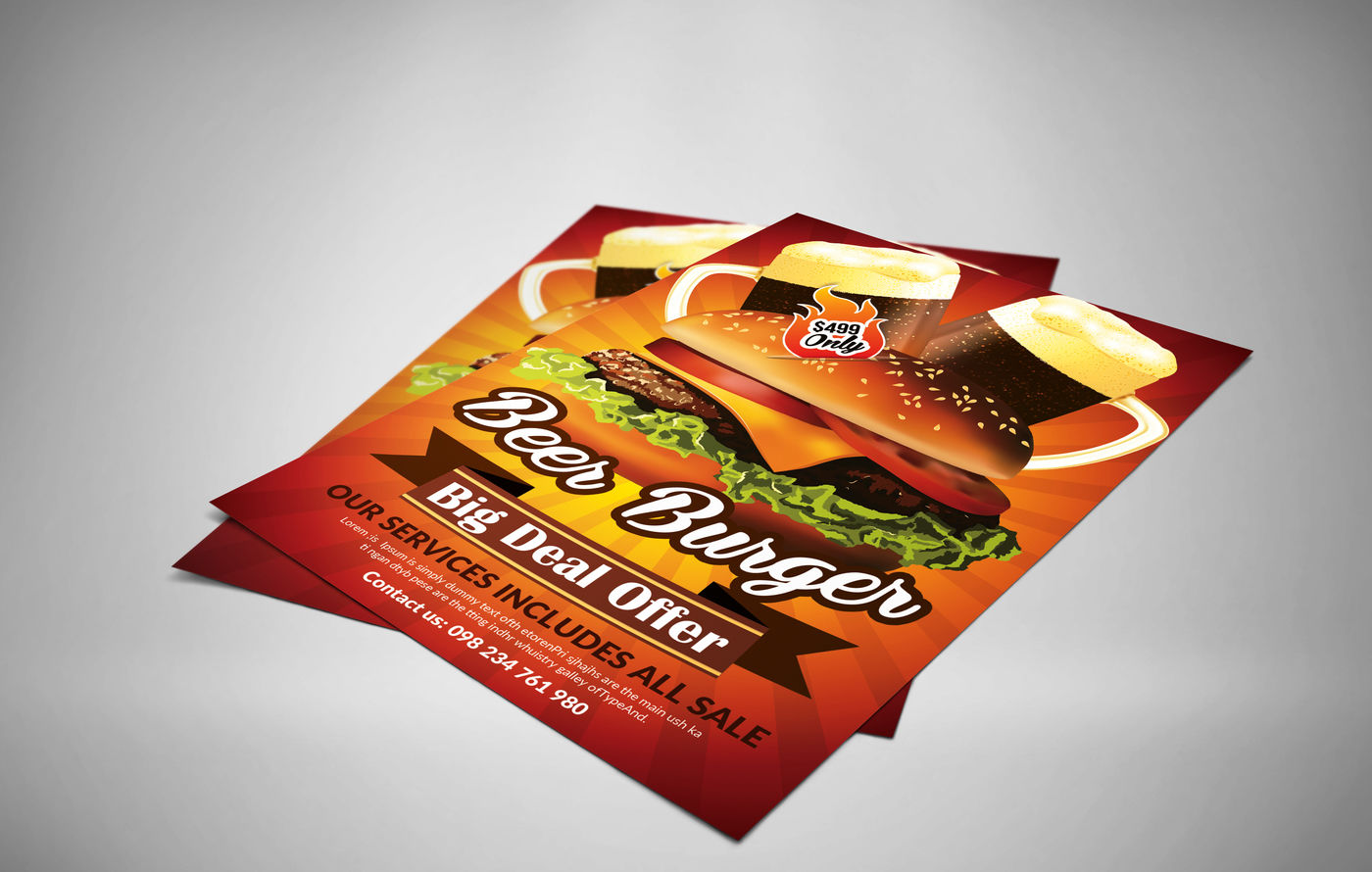 burger resaurant promotion flyers