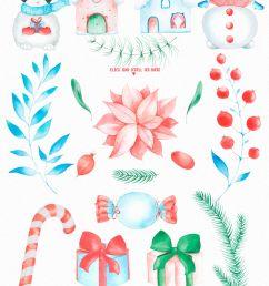 watercolor winter clipart winter vacation  [ 1000 x 1856 Pixel ]