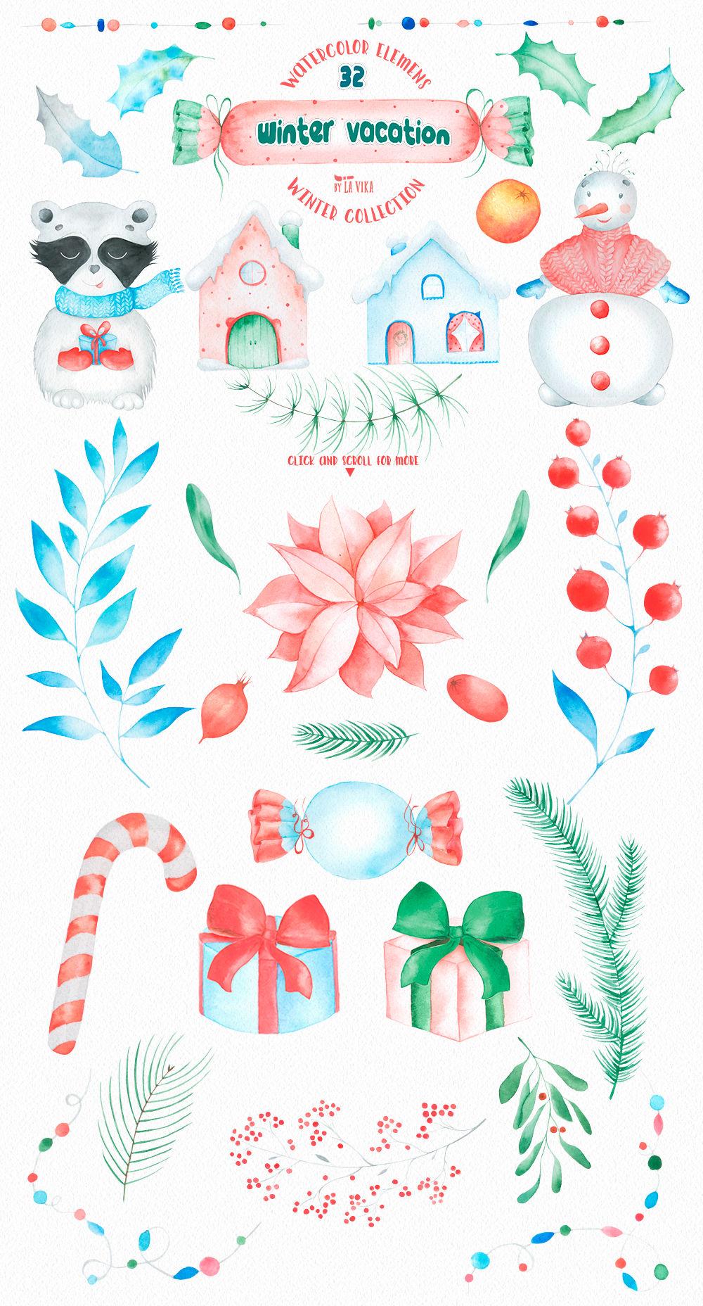 medium resolution of  watercolor winter clipart winter vacation