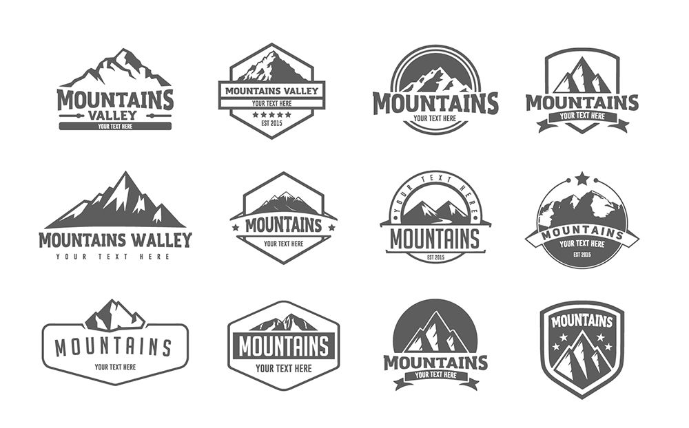 Pack of 12 mountains logo, 62 icons By Artha Graphic