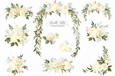 watercolor flowers clipart greenery roses peonies vanilla floral wedding peony baptism decor rose leaf baby thehungryjpeg bouquets leaves room whiteheartdesign