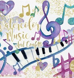 rainbow watercolor music notes musical clipart [ 1400 x 1121 Pixel ]