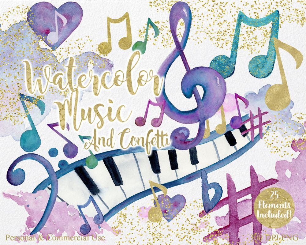 medium resolution of  rainbow watercolor music notes musical clipart