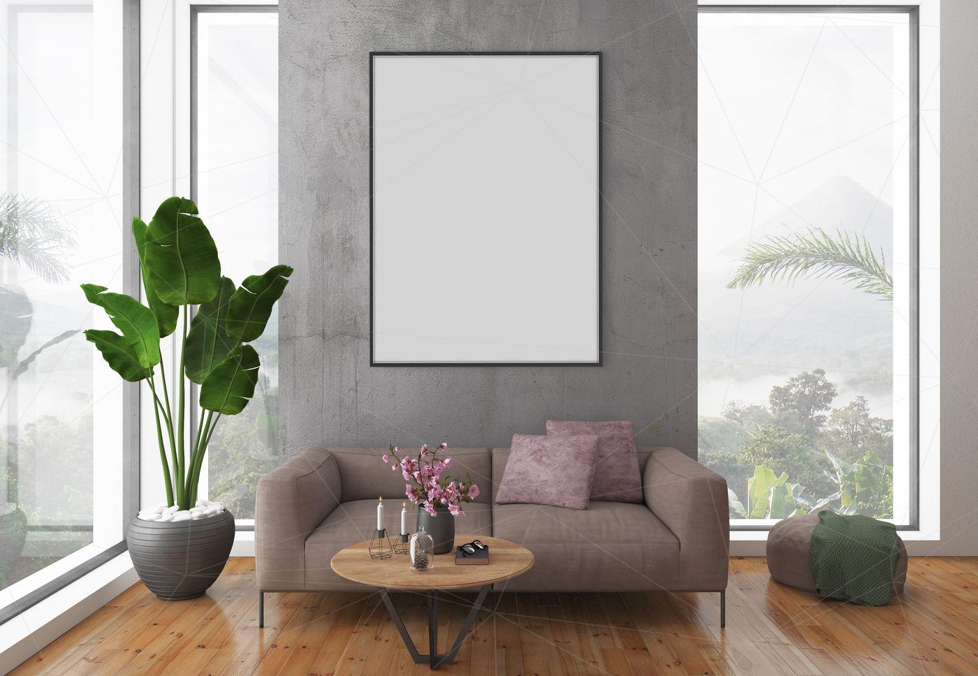 Interior mockup - blank wall mock up By Hunny Badger | TheHungryJPEG.com