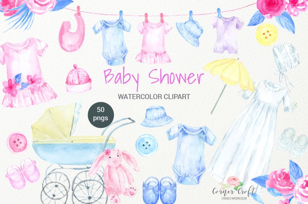 medium resolution of watercolor clipart baby shower