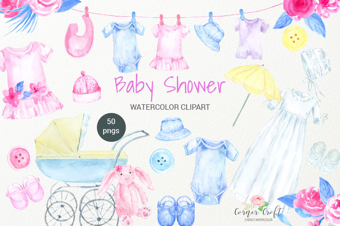 hight resolution of watercolor clipart baby shower