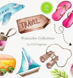 watercolor travel vacation clipart  [ 1160 x 772 Pixel ]