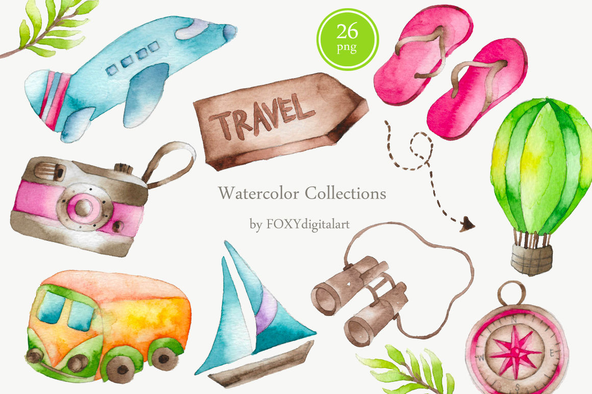 hight resolution of watercolor travel vacation clipart