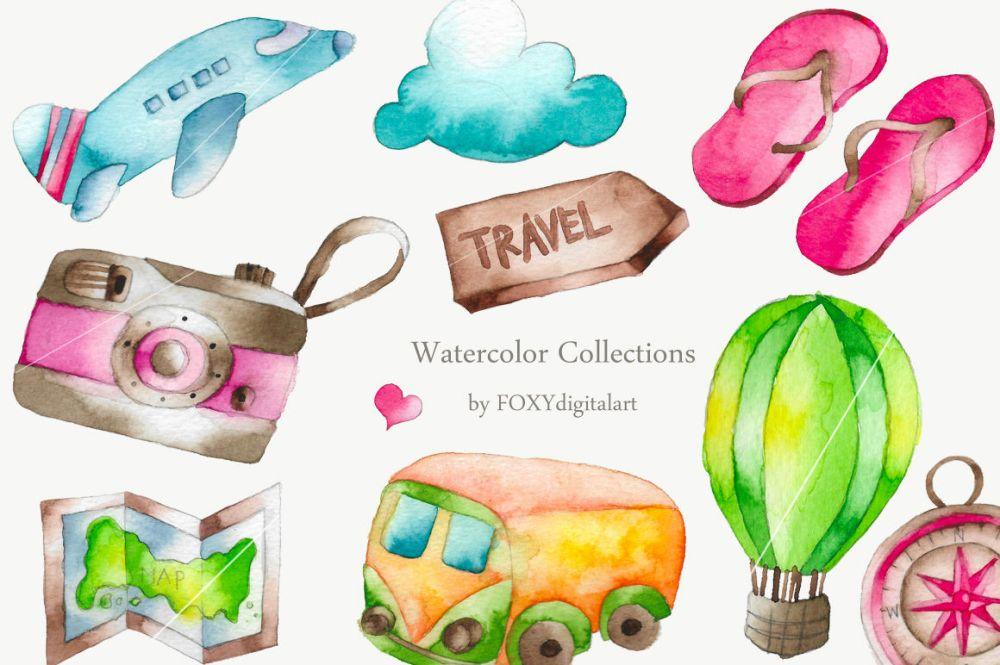 medium resolution of  watercolor travel vacation clipart