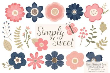 Simply Sweet Vector Flowers & Stems Clipart in Navy & Blush By Amanda Ilkov TheHungryJPEG com