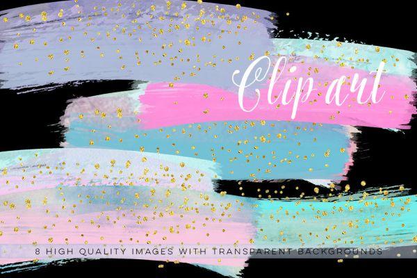 pastel confetti brush clip art