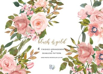 watercolor flower rose gold blush clipart leaves clip graphics thehungryjpeg
