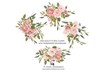 rose gold clipart watercolor blush flower leaves graphics thehungryjpeg