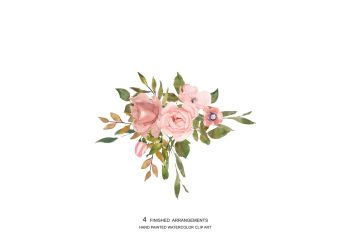 rose blush gold flower clipart watercolor leaves flowers graphics thehungryjpeg 123clipartpng
