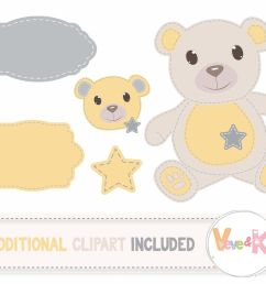 stitched teddy bear clipart and digital papers set [ 1400 x 1138 Pixel ]