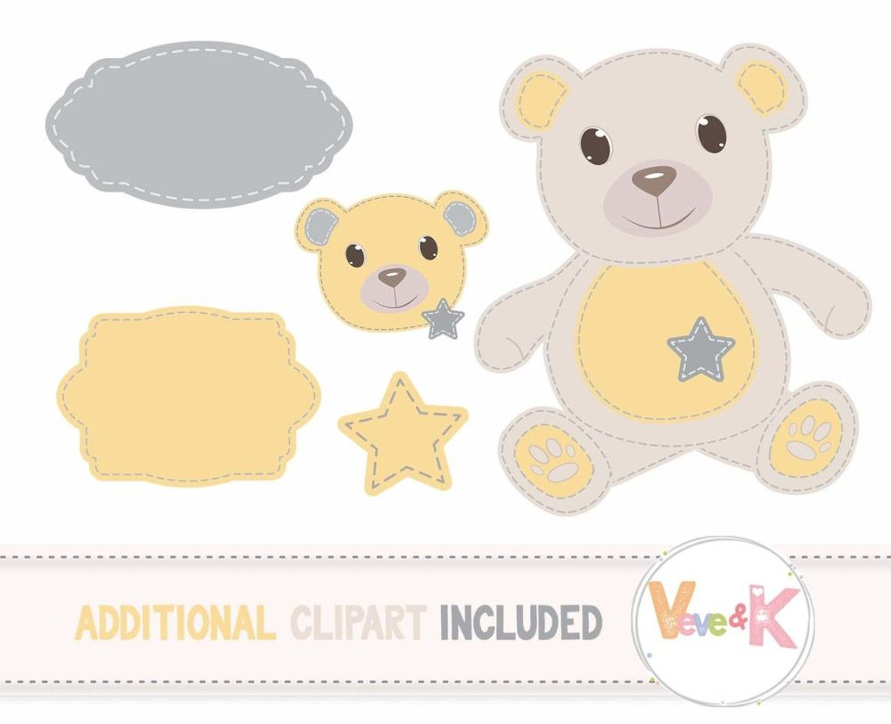 medium resolution of  stitched teddy bear clipart and digital papers set