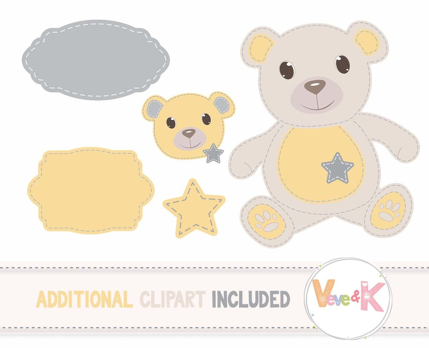 hight resolution of  stitched teddy bear clipart and digital papers set