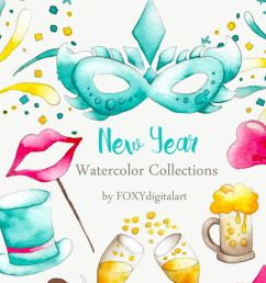 watercolor new year party confetti clipart  [ 1160 x 772 Pixel ]