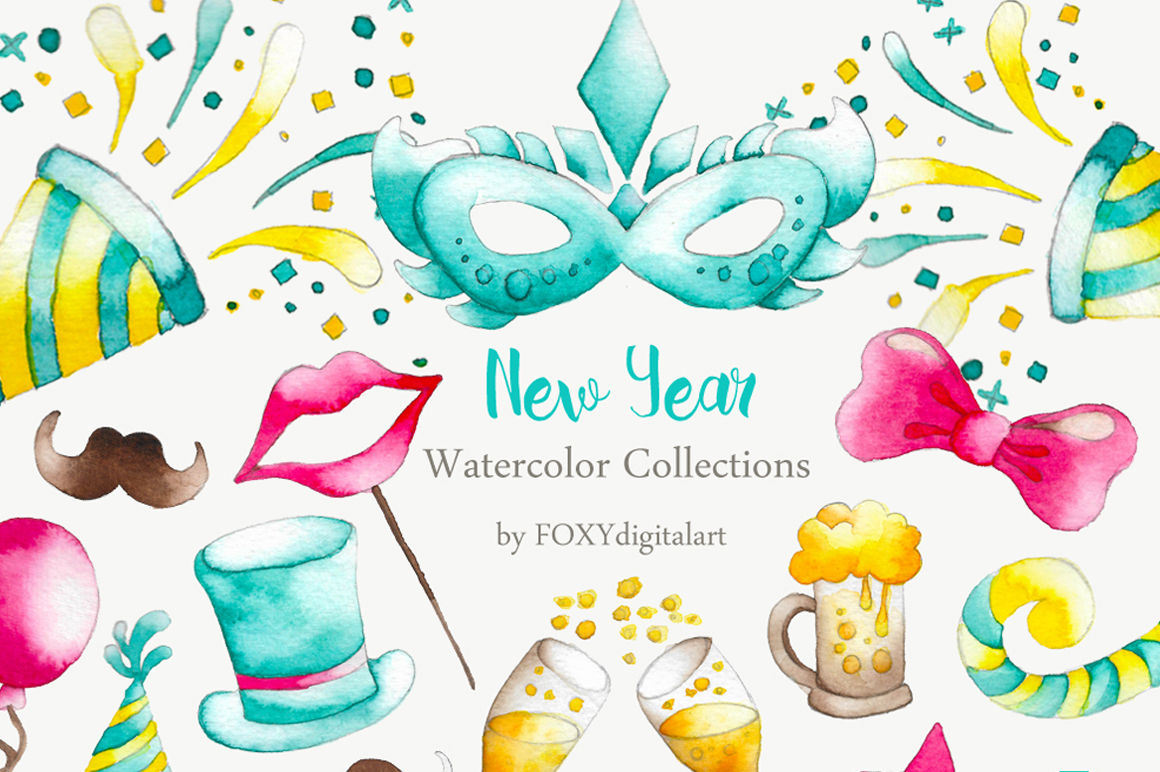 hight resolution of watercolor new year party confetti clipart