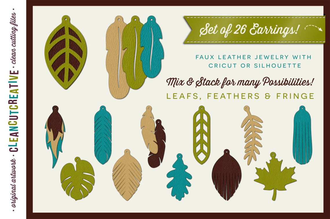 Download Set of 26 Faux Leather Earrings - SVG DXF EPS - Cricut and ...