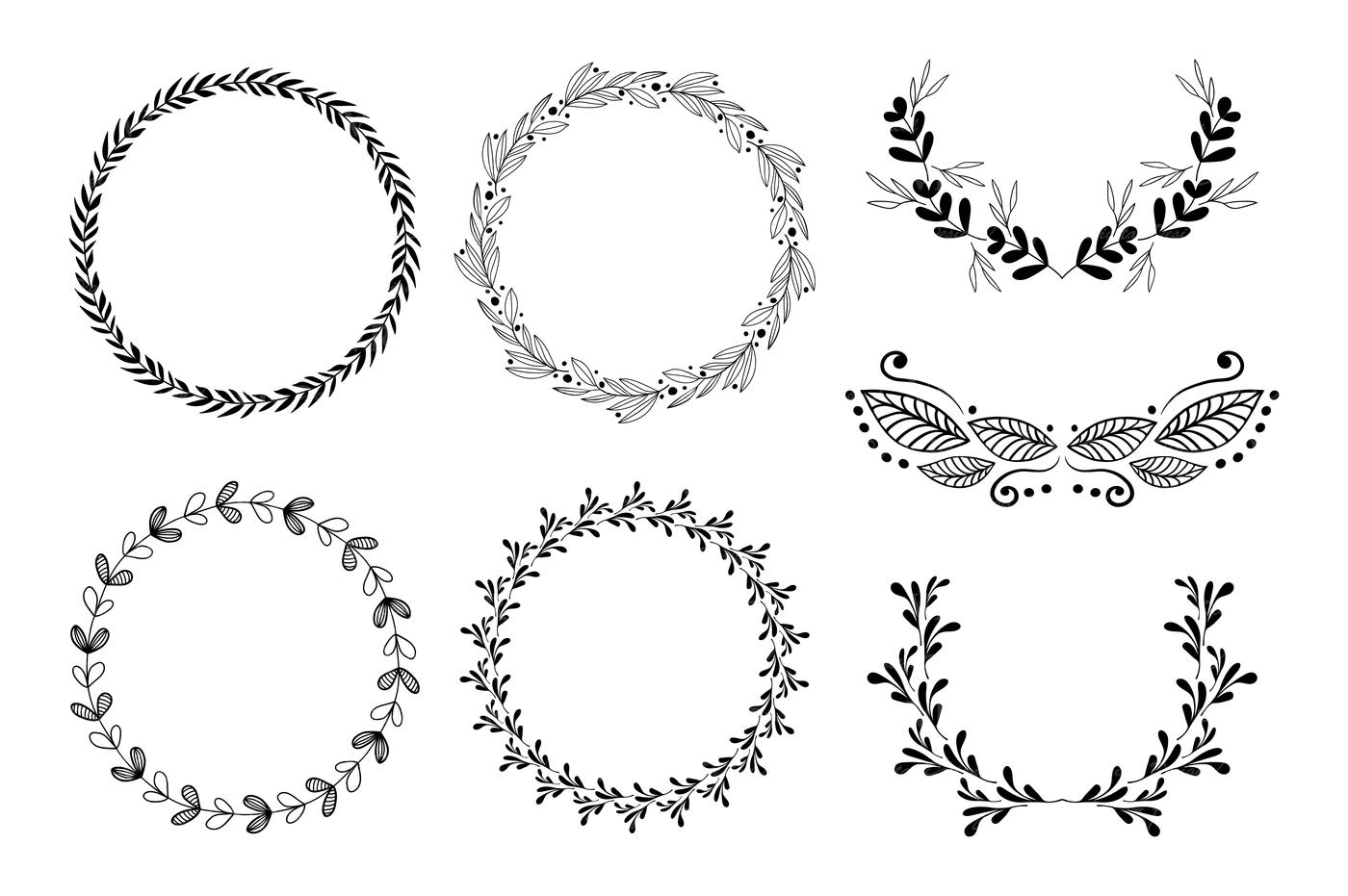 Wreath clipart / Hand drawn black round wedding frames