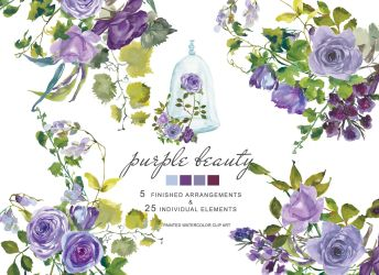 purple flowers clip watercolor roses painted wine hand glass clipart graphics thehungryjpeg designer