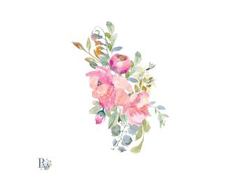 pink clip flowers blush watercolor painted hand thehungryjpeg graphics
