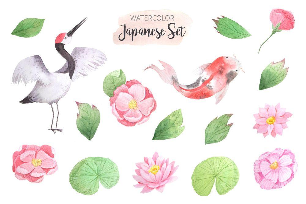 medium resolution of  watercolor japanese clipart set