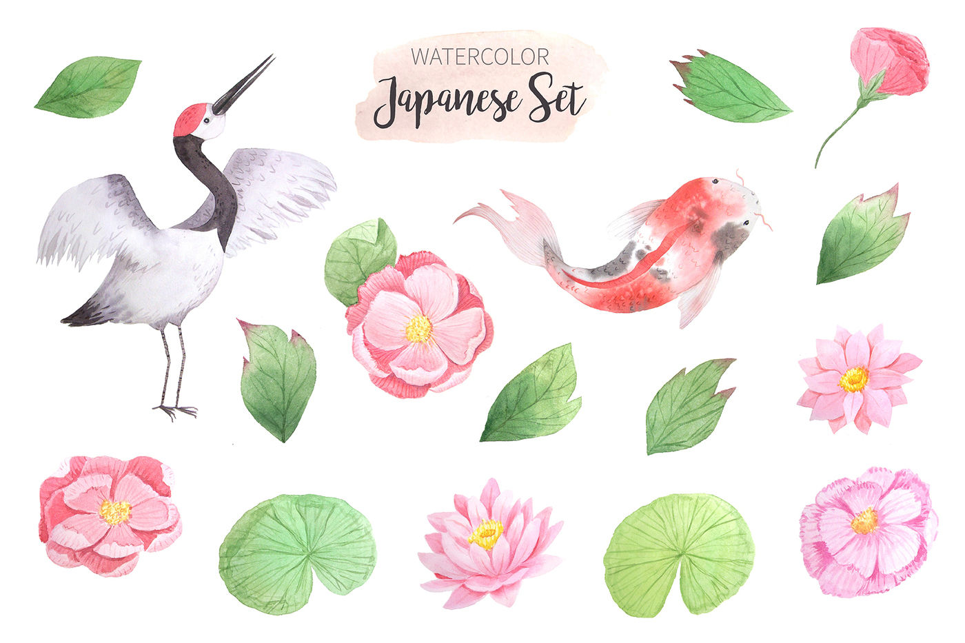 hight resolution of  watercolor japanese clipart set