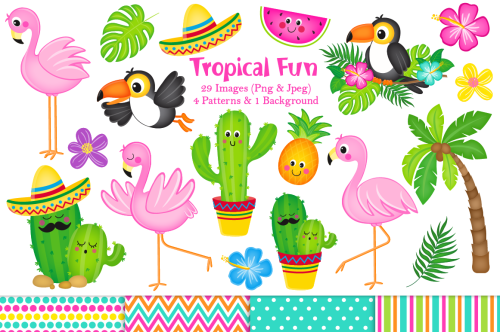 small resolution of flamingo clipart cactus clipart tropical graphics amp illustrations
