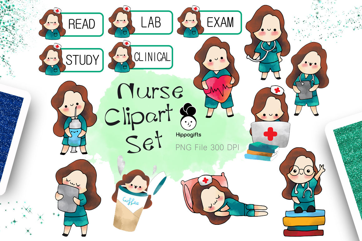 hight resolution of brown hair nurse clipart