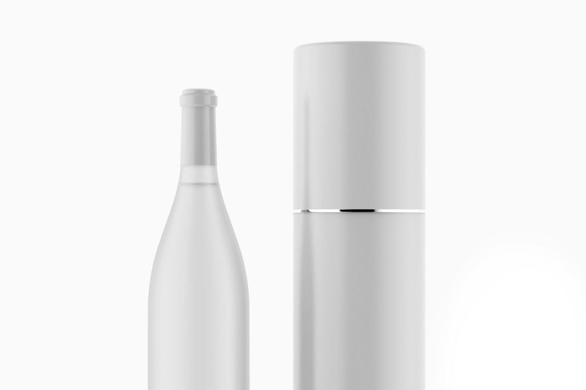 Download Dark Glass Champagne Bottle Mockup Front View Yellowimages