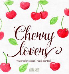 watercolor cherry clipart  [ 1160 x 772 Pixel ]