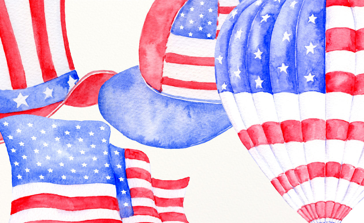 watercolor clipart american flags