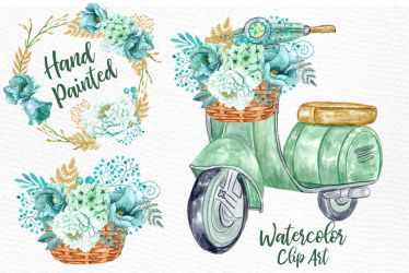 watercolor flowers spring clipart floral mint wedding clip graphic wreaths lecoqdesign thehungryjpeg graphics cart illustrations designer
