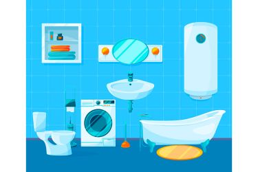 Modern clean interior of bathroom Vector pictures in cartoon style By ONYX TheHungryJPEG com