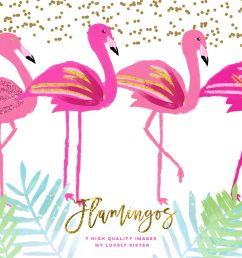 pink flamingo clipart scrapbooking cupcake toppers planner stickers  [ 1400 x 933 Pixel ]