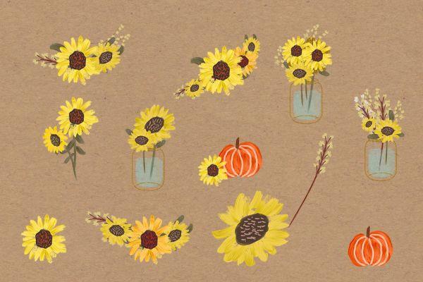 sunflower watercolor clipart pumpkin