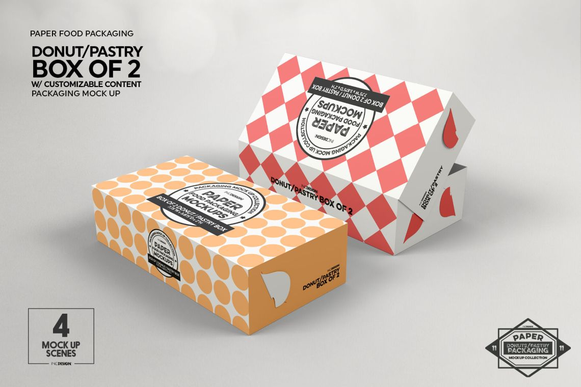 Download Box of Two Donut Pastry Box Mockup By INC Design Studio ...