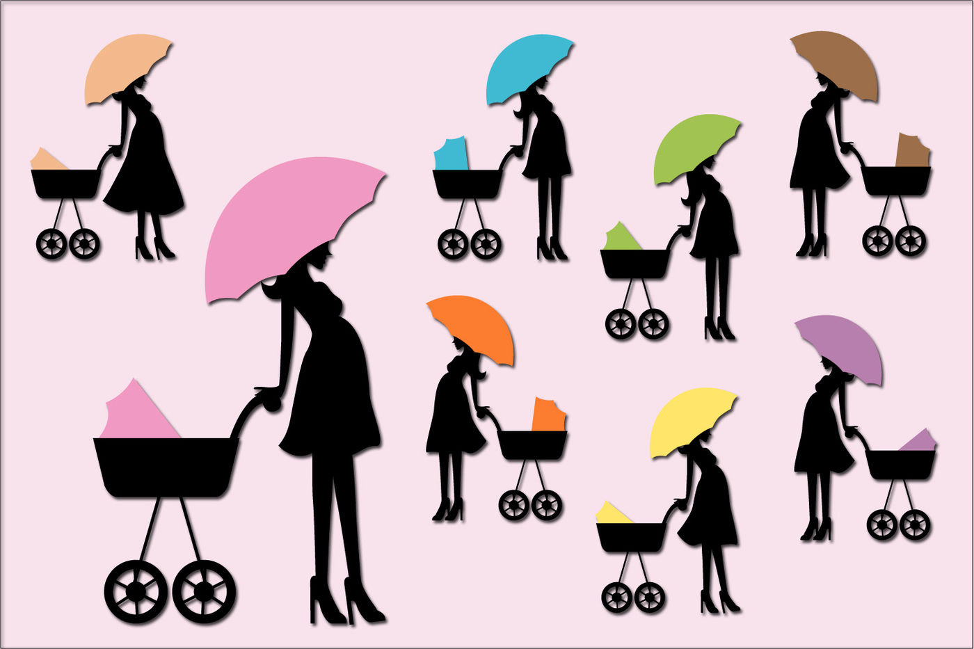 hight resolution of  pregnant woman baby carriage clipart mom to be