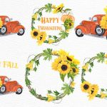 Sunflower Clipart Sunflower Wreaths Thanksgiving Clipart By Lecoqdesign Thehungryjpeg Com