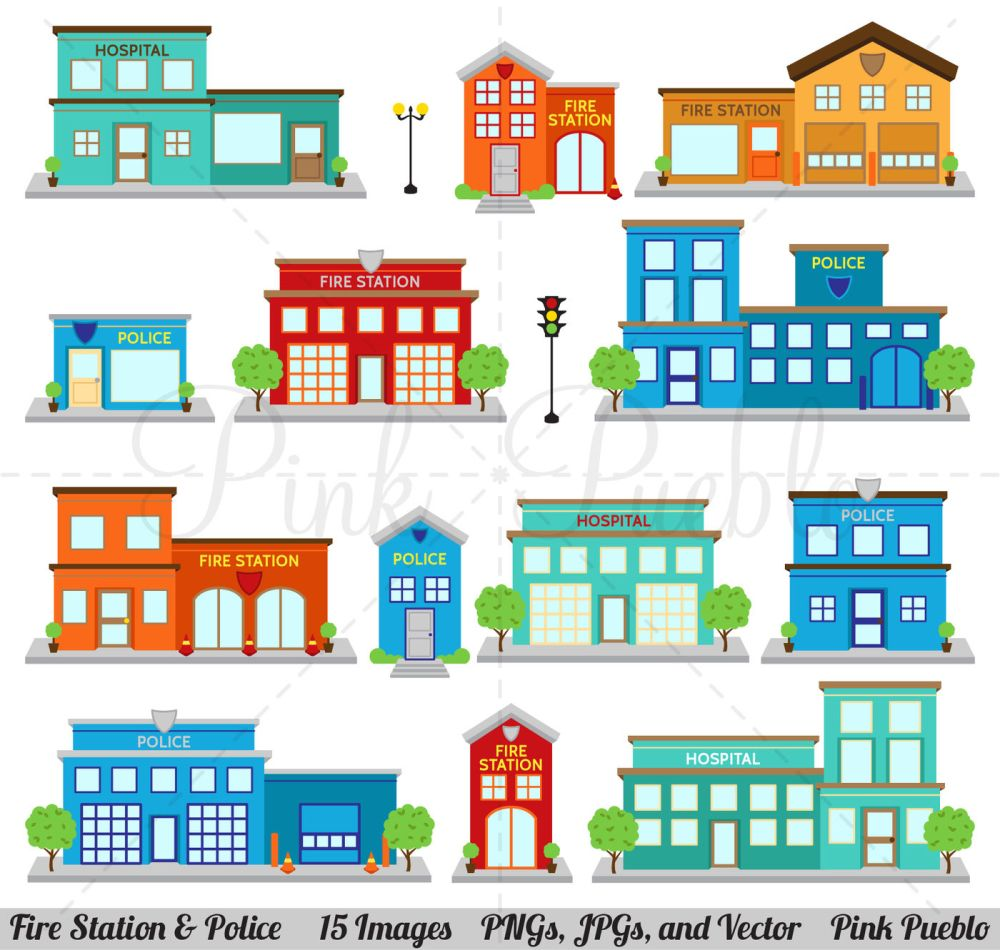 medium resolution of fire station and police clipart vectors