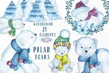 polar winter watercolor clipart animals baby bears animal christmas bear truck graphic vivastarkids creativefabrica creative thehungryjpeg graphics cart mama articulo
