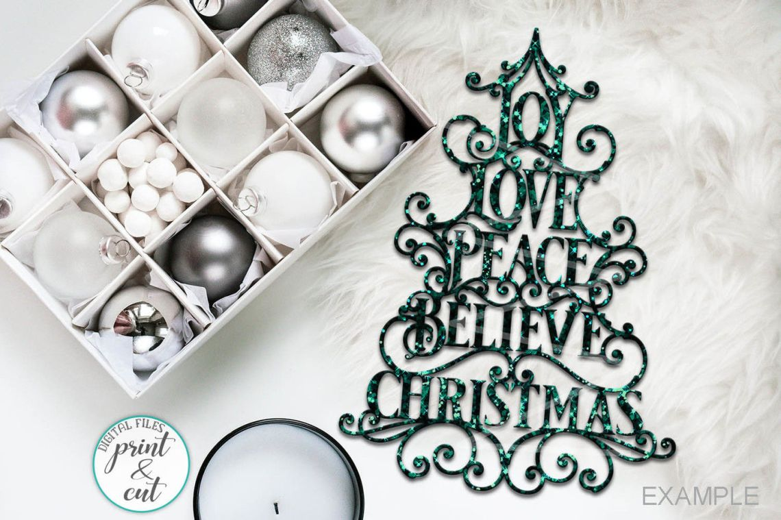Download Joy Love Peace Believe Christmas svg dxf pdf cut file By ...