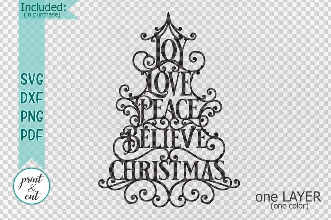 Download Joy Love Peace Believe Christmas svg dxf pdf cut file By ...