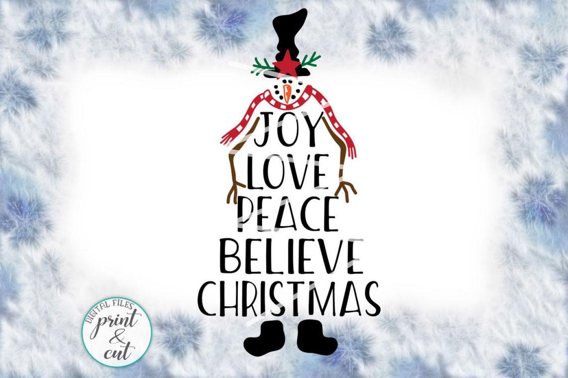 Download Joy Love Peace Believe Christmas Snowman Vintage svg pdf ...